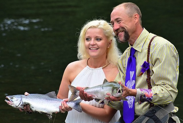 Alaska Fly Fishing wedding couple first catch