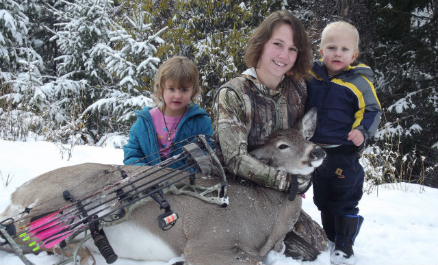 bowhunting woman and family